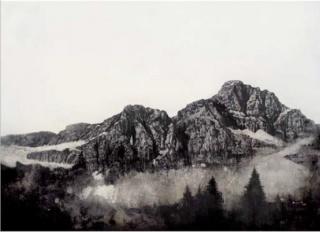 David Morago, Montaña, Acrílico y grafito/madera, 130 x 170 cm.