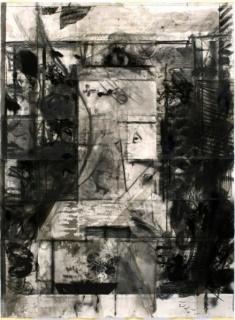 Raúl Domínguez, Kardana y la tortuga se hacen amigas, 2016. Grafito, conté, carbón, cera, tinta, pintura en espray, acrílico y tinta de grabado sobre papel, 140 x 189 cm.