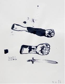 Marcelo Viquez, Garage Hell #17. Tinta china sobre papel. 21x29,5cm. 2013 — Cortesía de la Galería Herrero de Tejada