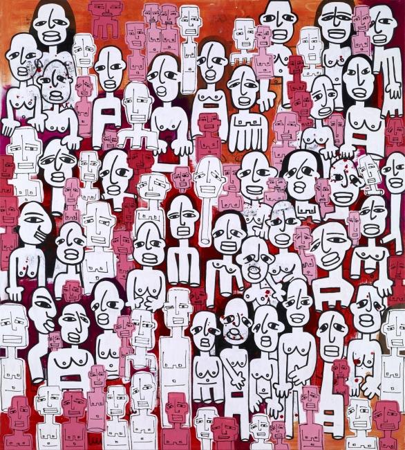 Horror Vacui, mixta sobre tela y papel, 200x200 cm