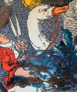 Charlie Billingham, Pato (bis), 2018, Oil on Linen, 115 x 95 cm. Cortesía Galería Travesía Cuatro