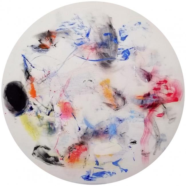 Cristóbal Ortega, Sudoración Tokio, 2018. Óleo sobre lienzo, 80 cm. — Cortesía de la Galería Miguel Marcos