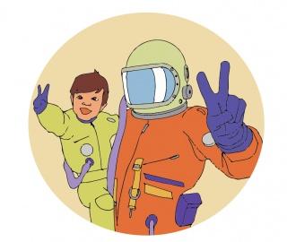 Astronauta y niño