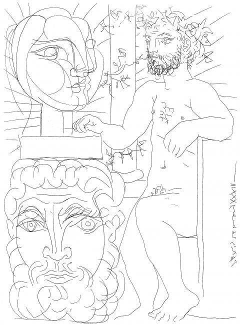 Pablo Picasso, Sculpteur et deux têtes sculptées [Escultor y dos cabezas esculpidas], 1933. Aguafuerte sobre papel verjurado. Fundación Juan March — Cortesía de la Fundación Juan March