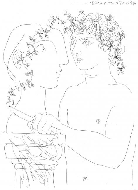 Pablo Picasso, Jeune sculpteur au travail [Joven escultor trabajando], 1933. Aguafuerte sobre papel verjurado. Fundación Juan March — Cortesía de la Fundación Juan March