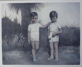 Federico Granell. Giulio y  Luciano junto a palmera, 2019. Óleo sobre lienzo, 33x41 cm. — Cortesía de la Galería Utopía Parkway