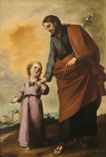 Bartolomé Esteban Murillo (1617-1682). San José con el Niño (c. 1655-1660). Colección particular de Victor Fedotov — Cortesía del Museo de Bellas Artes de Bilbao