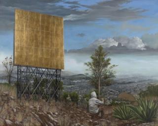 Jesus Herrera   Vista del valle de México junio / julio   óleo sobre lienzo   160x200 cm.   2013. Cortesía de ATM