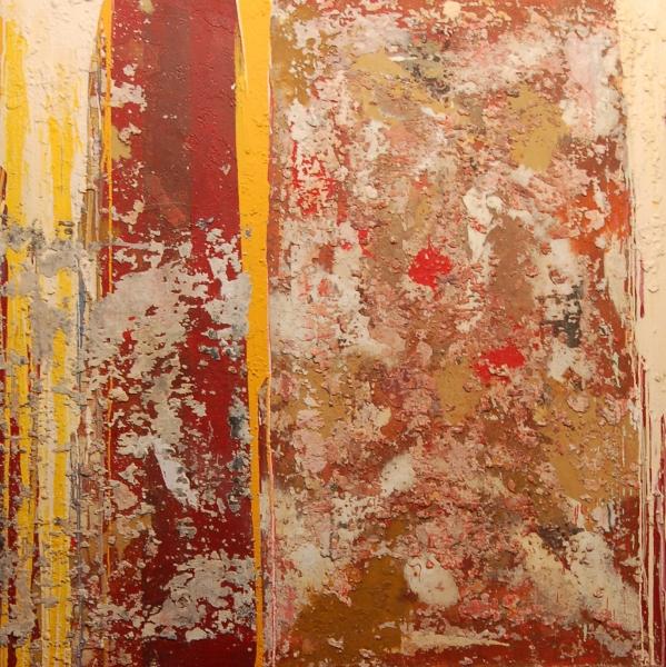 GARIKOITZ CUEVAS, Puertas Abiertas. Mixta sobre tela, 130 x 130 cm.