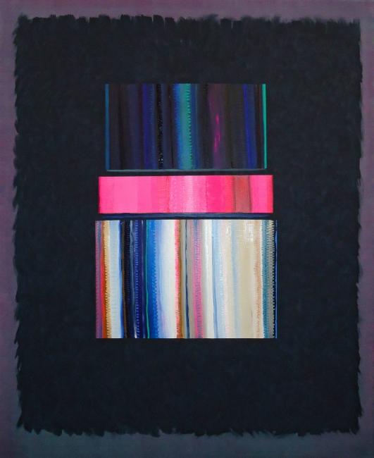 Alejandro Botubol - 2018. Pink-Tape, 170 x 140 cm, óleo sobre lienzo — Cortesía del Centro de Arte de Alcobendas