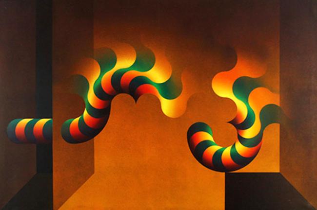 Julio Le Parc, Modulación 657, 1984. Acrílico sobre tela, 195 x 130 cm. Cortesía Atelier Julio Le Parc
