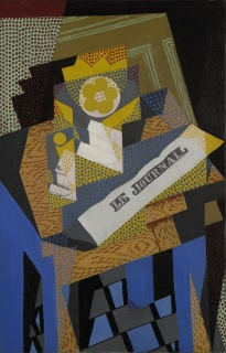Juan Gris, Newspaper and Fruit Dish, 1916, oil on canvas, Yale University Art Gallery, Gift of Collection Société Anonyme. Photo © Yale University Art Gallery