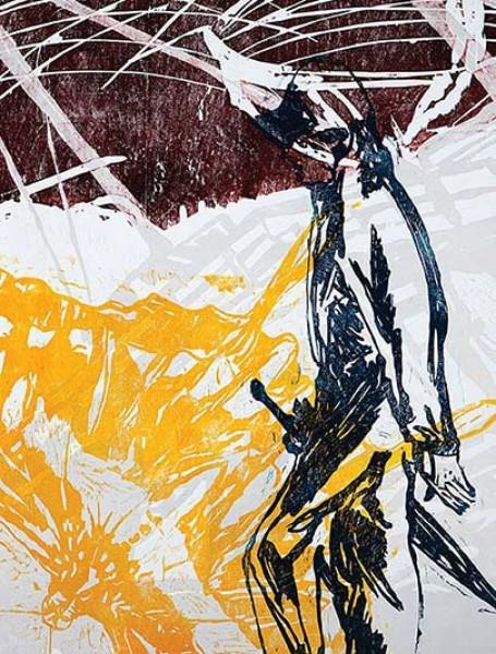 Várzea, 2013. Xilogravura em cores s/ papel Debret
