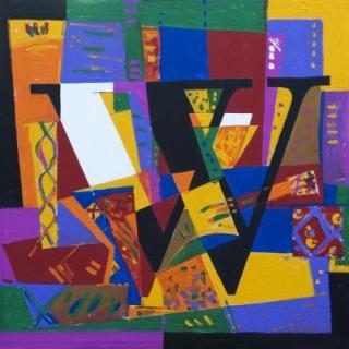 Jorge Morgan, W. Acrílico sobre lienzo y tabla, 2008/2009, 85X85 cm. Catalogo: DE LETRAS Y COLOR. Galeria Ármaga, León – Cortesía del Ateneo de Madrid