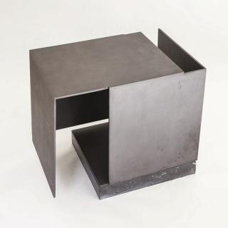 Caja metafísica por conjunción de dos triedros, vacío respirando. Jorge Oteiza, Acero pintado, 1972-1974 — Cortesía de la Galería Guillermo de Osma