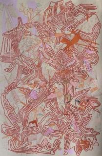 Daniel Jacoby, Camuflaje para un lugar muy específico X, 2018. Lápiz, lápices de colores, rotuladores y gouache sobre papel Hahnemühle. 54 x 37,5 cm — Cortesía de la galería Maisterravalvuena