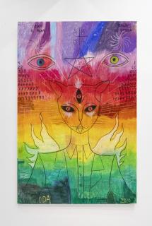 Diego de Aduriz - Gato arcoiris - 100 x 65 cm. -  pastel sobre papel - 2020 — Cortesía de la Cámara Argentina de Galerías de Arte