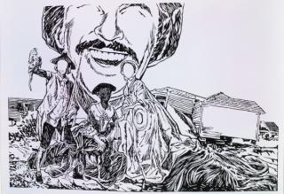 César Gabler Tradición Familia y Propiedad II (Tradition Family and Property II) 2016 Indian ink on paper 77.5 x 110 cm.