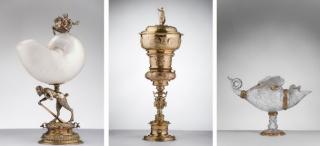 Imágenes, de izquierda a derecha: Cornelius Floris. Copa nautilo, hacia 1577 / Hans Petzoldt. Copa Imhoff, hacia 1626 / Aguamanil en forma de pez, hacia 1600. Thyssen-Bornemisza Collections