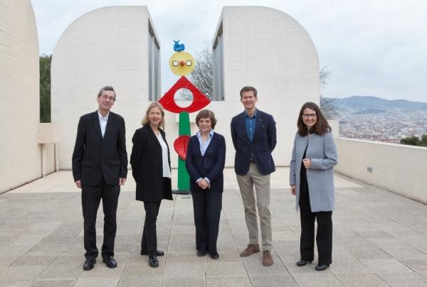 Alfred Pacquement, Iwona Blazwick, Rosa Maria Malet, Magnus af Petersens y Nimfa Bisbe. © Fundació Joan Miró, Barcelona, 2017. Foto: Pere Pratdesaba