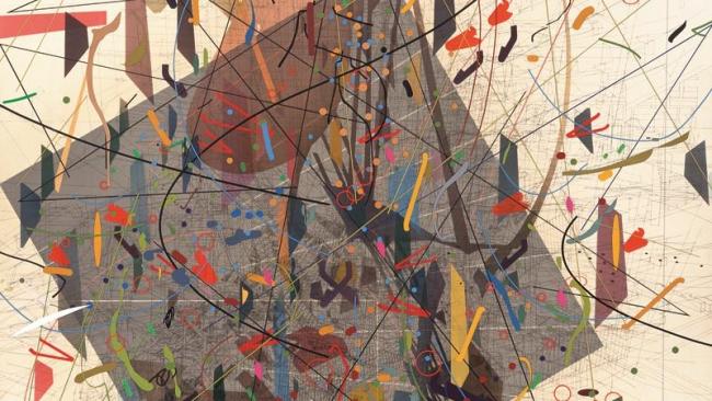 Julie Mehretu, Zero Canyon (a dissimulation), 2006 Tinta y acrílico sobre lienzo, 304.8 x 213.4 cm (JM 1290.06). Cortesía de la artista y Marian Goodman Gallery, Nueva York. © Julie Mehretu
