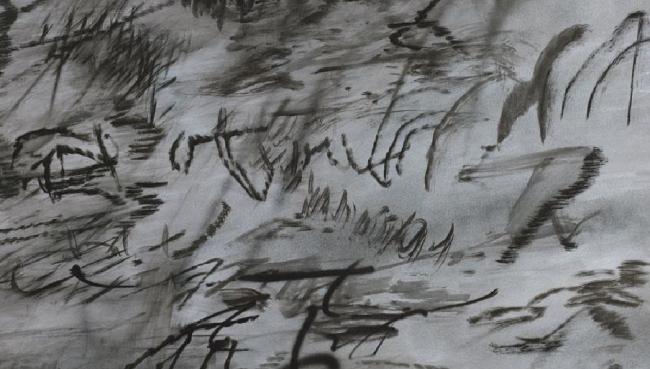 Julie Mehretu Heavier than air (written form), 2014 Tinta y acrílico sobre lienzo, 122 x 183 cm. (JM 1090.14). Cortesía de la artista y Marian Goodman Gallery, Nueva York. © Julie Mehretu