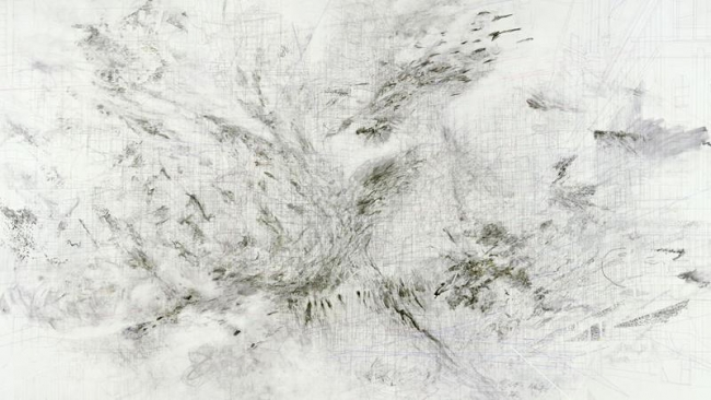 Julie Mehretu, Fragment, 2009 Tinta y acrílico sobre lienzo, 303.5 x 415.8 cm (JM 0390.09). Cortesía de la artista y Marian Goodman Gallery, Nueva York. © Julie Mehretu