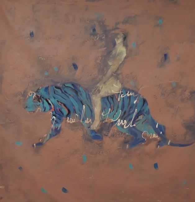 Donato Grima, El otro tigre. 2018. Acrílico sobre tela. 150 x 150 cm. – Cortesía del Ateneo de Madrid