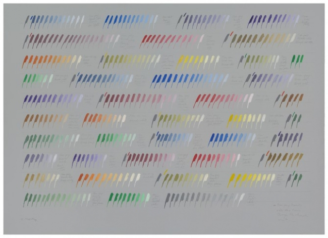 From gray towards white three times through the chromatic circle, 1977