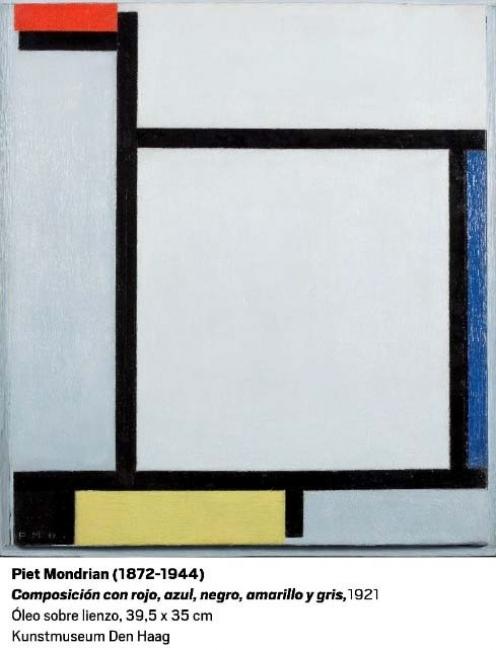 Piet Mondrian, Composición con rojo, azul, negro, amarillo y gris, 1921. Óleo sobre lienzo, 39'5x35 cm. Kunstmuseum Den Haag — Cortesía del Museo Nacional Centro de Arte Reina Sofía