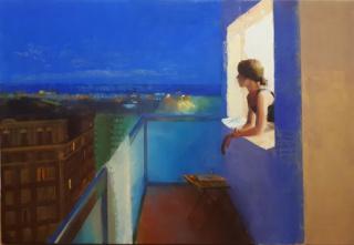 Alejandra Caballero, La nit i la ciutat, oli sobre tela, 120 x 80 cm. — Cortesía de Anquin's. Galería de arte