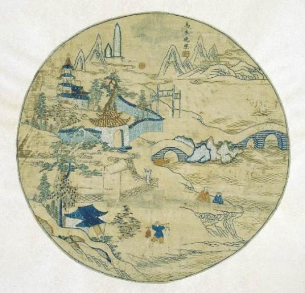 Wuyi [Nanjing] al atardecer. Bordado de la familia Gu. Siglos XVI-XVII. © Nanjing Museum