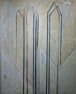"""Virginia Lasheras, """"Arquitectura blanca"""", 160 x 134 cm. oil / canvas — Cortesía de Sala Dalmau"""