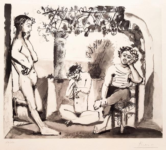Picasso, Bacchanale, 1955. Aguafuerte y aguatinta. Edición: 250 ejemplares. Tamaño plancha: 47 x 55,5 cm.; papel: 57,5 x78,5 cm. — Cortesía de la galería Acanto
