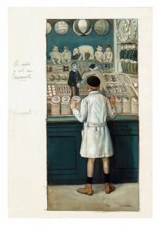 Ángel Díaz Huertas, El niño y el escaparate. Blanco y Negro, núm. 1.711. 2 de marzo de 1924. Acuarela y tinta sobre papel, 323 x 222 mm. Museo ABC — Cortesía del Museo ABC