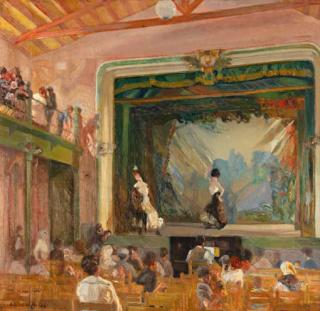Ricard Urgell, A 10 céntimos una y la otra. 1909. Oli sobre tela, 94 x 98 cm. — Cortesía de Art Petritxol