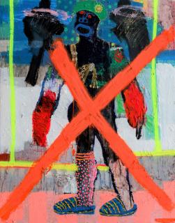 Bob-Nosa - Bad Man - 138cm H x 110cm W - Acrylic and spray paint on textured canvas