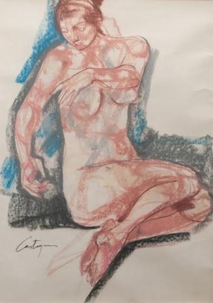 Juan Carlos Castagnino, Mujer Posando. Mixta. 90 x 54 cm.