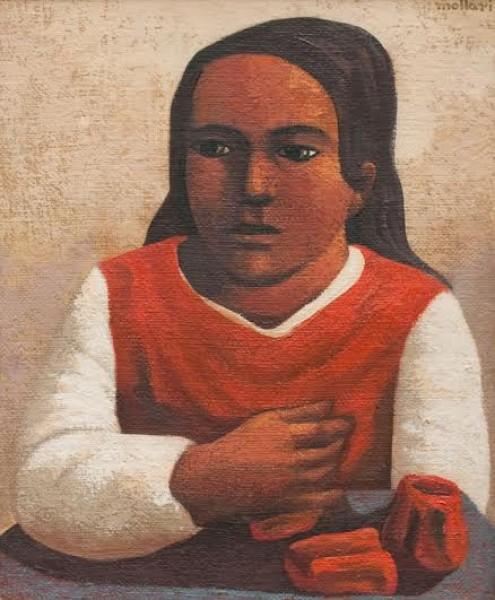 Mario Mollari, La Campesina. Óleo/Arpillera. 60 x 50 cm.