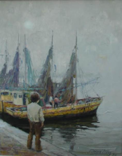 Óscar Vaz, Pesquero del Río, 1976. Óleo/Tela. 50 x 40 cm.