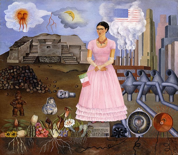Self-Portrait on the Border Line between Mexico and the United States, 1932 Frida Kahlo, Mexican, 1907–1954 Oil on metal 12 1/2 × 13 3/4 inches (31.8 × 34.9 cm) Collection of María and Manuel Reyero, New York © Banco de México Diego Rivera Frida Kahlo Mus
