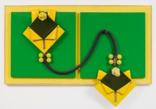 Miguel Ángel Cárdenas, Green and yellow lovers, 1964, Panel, PVC, objects, 55 1/2 x 81 x 11 1/2 inches, (141 x 205.7 x 29.2 cm). Photo by Pierre Le Hors. Courtesy of Andrea Rosen Gallery, New York.