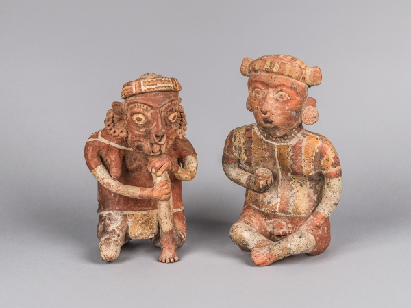 Caption: Male and Female Ancestor Figures, Mexico, Nayarit, 300 BCE–300 CE, Painted ceramic, Collection of Mingei International Museum, Gift of Fred and Barbara Meiers, 1996-82-002A-B