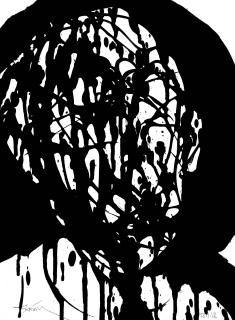 Fasim, DOWN BY LAW nº 40 ( Corrupt politician I ) - Acrylic paint on paper, 29,7 x 42 cm - 2017 — Cortesía del artista