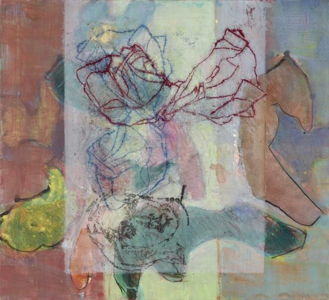 Martin Conrad, Wie Wind auf Bergen 2, 2016. 64x70 Acryl Oelzeichnung Leinwand 3200€ — Cortesía de la Galeria Anquin's