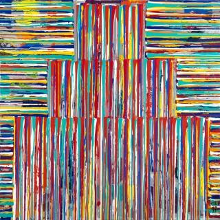 Juan Navarro Baldeweg, Torre, 2017, óleo y làtex sobre tela, 200x200 cm. — Cortesía de la galería Marlborough