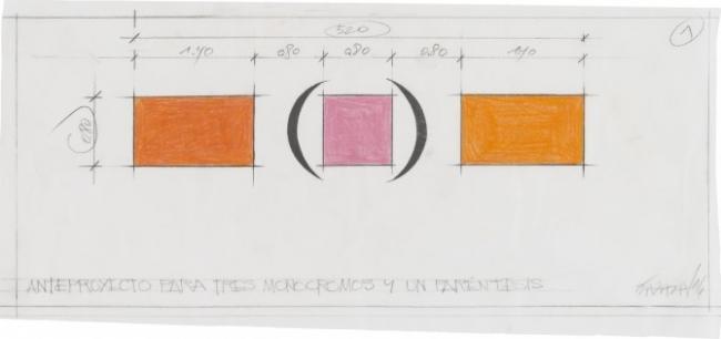 Anteproyecto para 3 monocromos y un paréntesis, 2016  Grafito y lápiz color sobre papel calco