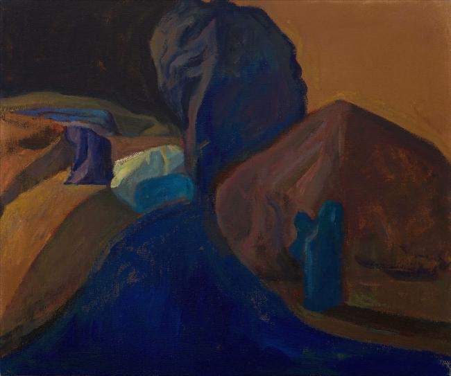 Morgan Bancon. Paisaje bleu. 55  x47 cm. Óleo sobre lienzo — Cortesía de Galería Caicoya art projects