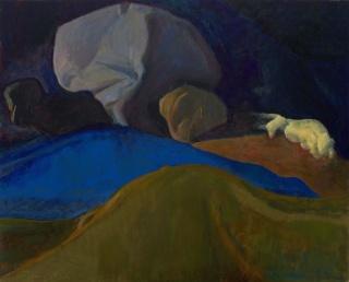 Morgan Bancon, Azul, 2018. Óleo sobre lienzo. 80 x 65 cm. — Cortesía de la Galería Caicoya art projects