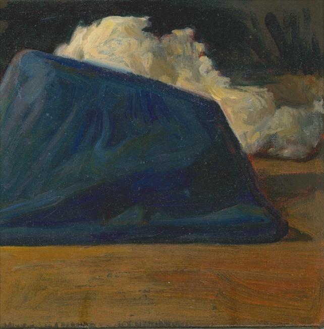 Morgan Bancon. Mont bleu. 25  x 25 cm. Acrílico sobre lienzo — Cortesía de Galería Caicoya art projects